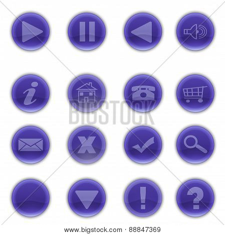 Shiny Round Purple Web Buttons