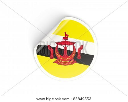 Round Sticker With Flag Of Brunei