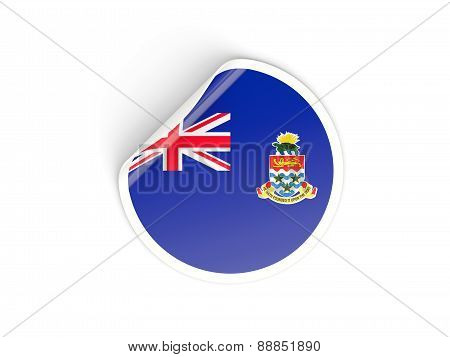 Round Sticker With Flag Of Cayman Islands