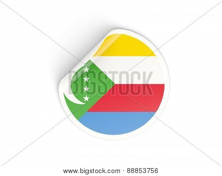 Round Sticker With Flag Of Comoros