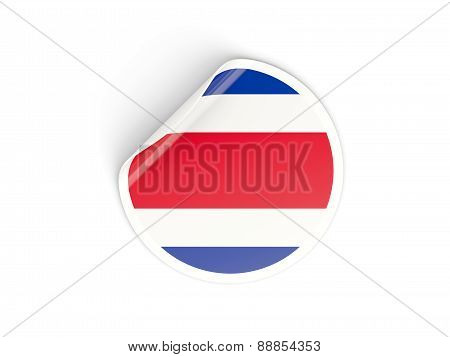 Round Sticker With Flag Of Costa Rica