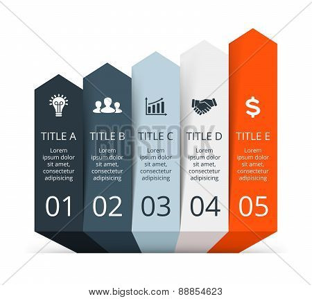 Vector arrows infographic. Template for diagram, graph, presentation and chart. Business concept 5 w