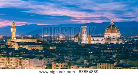 Twilight At The Duomo In Florence, Italy.
