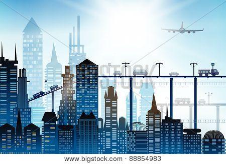 Beautiful modern city skyline illustration
