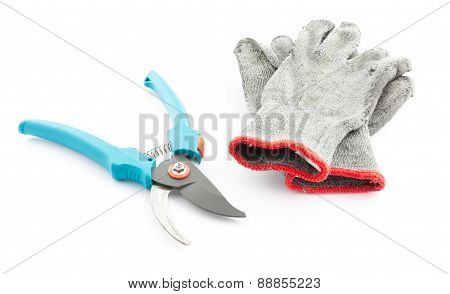 Pruning Shears And Worn Gardening Gloves
