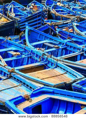 Blue Boats Of Essaouira, Morocco