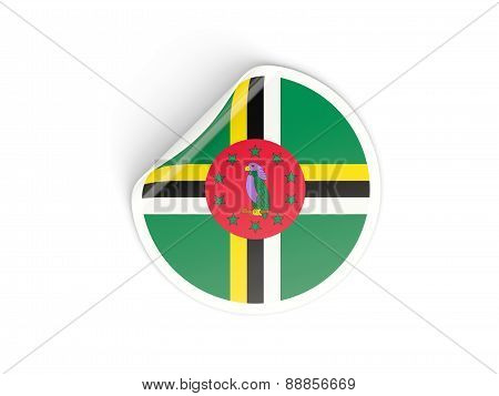 Round Sticker With Flag Of Dominica