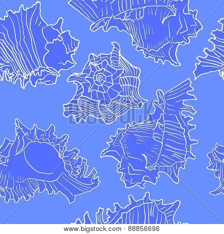 Colorful vector illustration of seamless marine pattern with sea