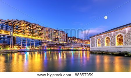 BFM, buildings and Rhone river, Geneva, Switzerland, HDR