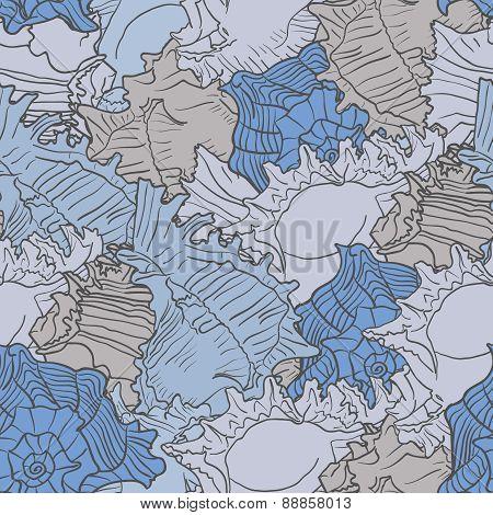 Seamless Marine Pattern With Sea Shells.