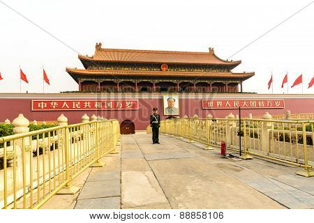 Beijing, China - March 30, 2015 : The Tiananmen Gate At The Tiananmen Square, Symbol Of China.