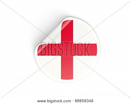 Round Sticker With Flag Of England