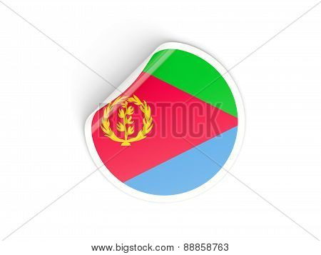 Round Sticker With Flag Of Eritrea