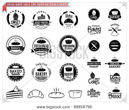 Vintage Bakery Labels Templates , Icons, Badges and Design Elements