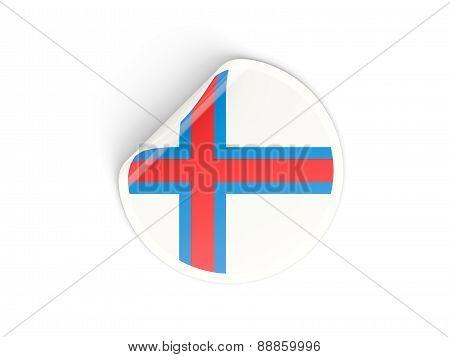 Round Sticker With Flag Of Faroe Islands