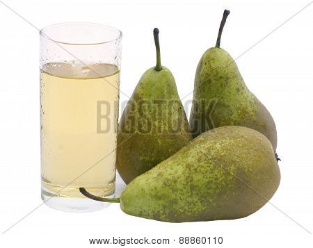 a glass of juice from pears and pear