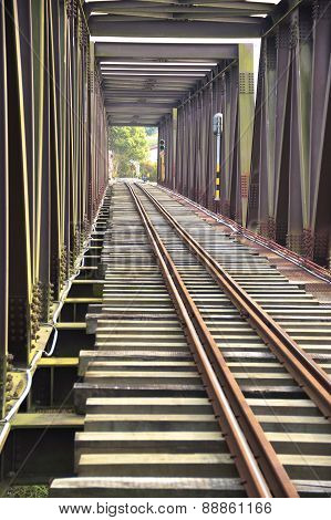 The close view of railroad track