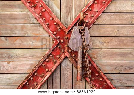 Old Wooden And Cross Metal Background