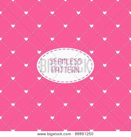 Pink romantic wedding geometric seamless pattern with hearts. Wrapping paper. Scrapbook paper. Tilin