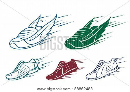 Running shoe icons, sports shoe with speed and motion trails