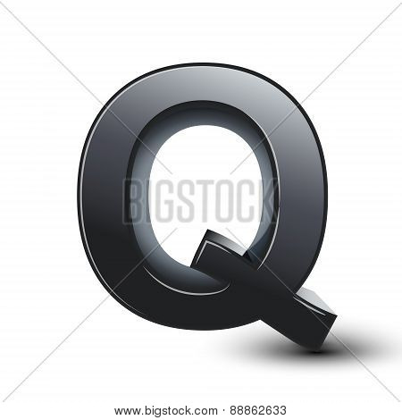 3D Black Letter Q