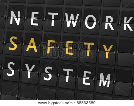 Network Safety System Words On Airport Board