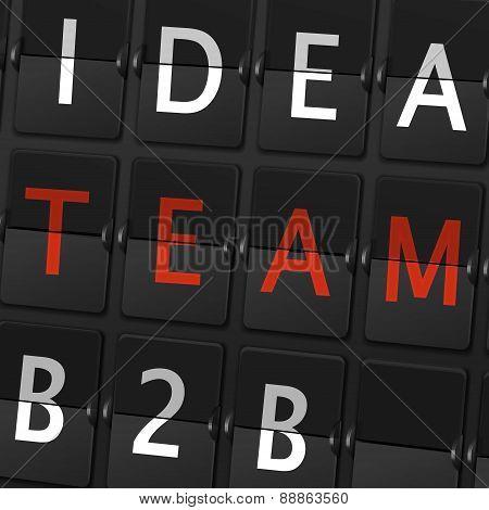 Idea Team B2B Words On Airport Board
