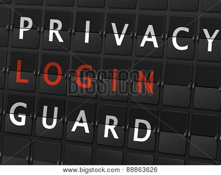 Privacy Login Guard Words On Airport Board
