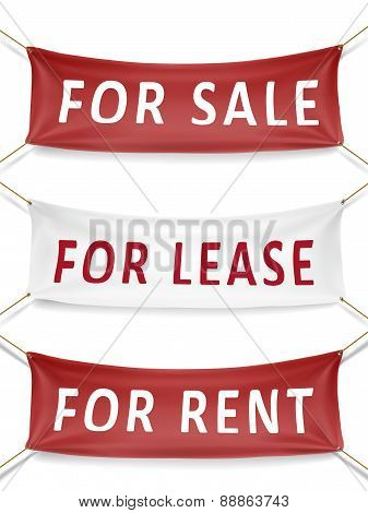 For Sale, For Lease And For Rent Banners