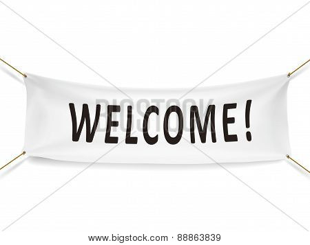 Welcome White Banner