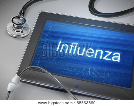 Influenza Word Displayed On Tablet