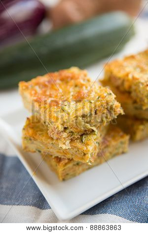 Cake with zucchini and cheese