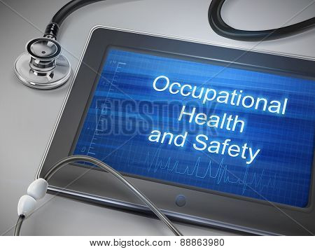 Occupational Health And Safety Words Displayed On Tablet