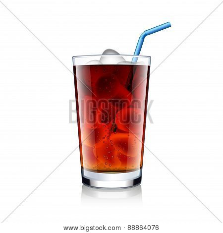 Cola Glass With Ice Cubes Isolated On White Vector