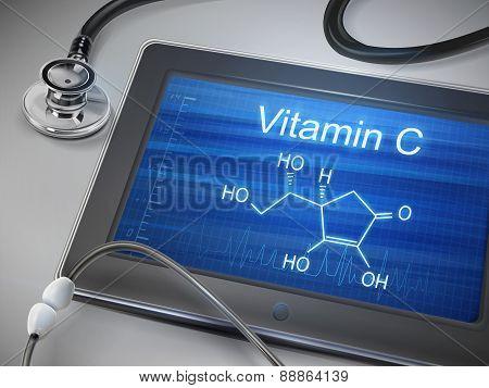 Vitamin C Words Displayed On Tablet