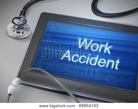 Work Accident Words Displayed On Tablet