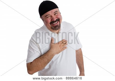 Happy Satisfied Man Shows His Gratitude In Prayer
