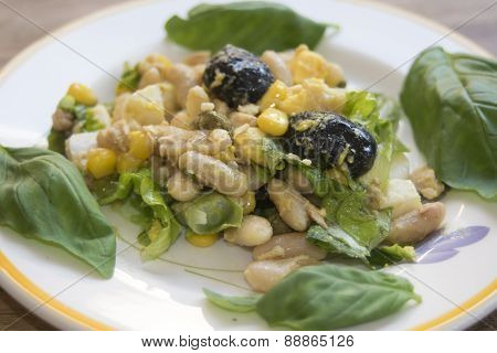 Salad Of Tuna Eggs And Beans