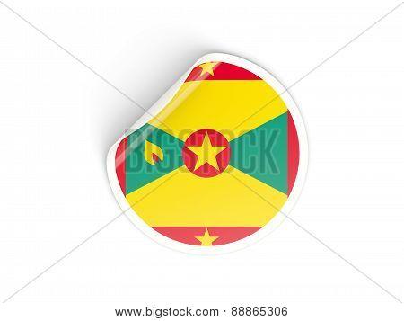 Round Sticker With Flag Of Grenada
