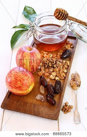 Apples, walnut, dried fruit and honey