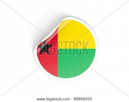 Round Sticker With Flag Of Guinea Bissau