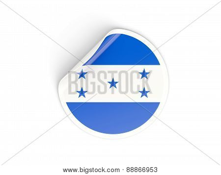 Round Sticker With Flag Of Honduras