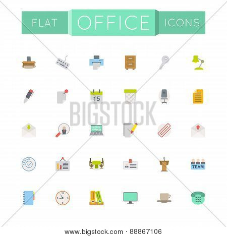 Vector Flat Office Icons