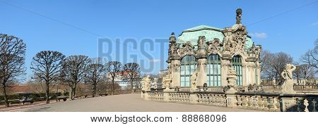 View From Terrace Toward Wall Pavilion Of Zwinger, Dresden, Germany.