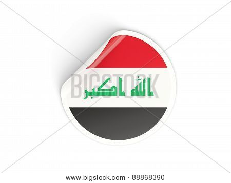 Round Sticker With Flag Of Iraq