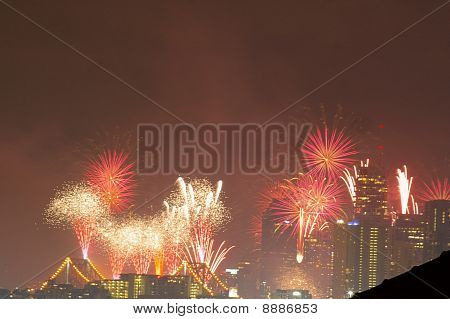 River Fire Fireworks As Brisbane