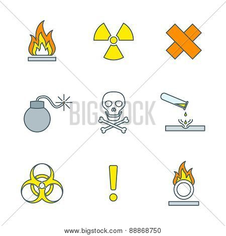 Colored Outline Hazardous Waste Symbols Warning Signs Icons .