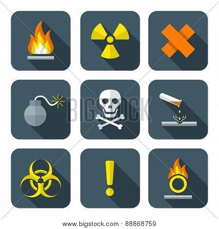Colorful Flat Style Hazardous Waste Symbols Warning Signs Icons .