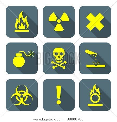 Bright Yellow Color Flat Style Hazardous Waste Symbols Warning Signs Grey Icons .
