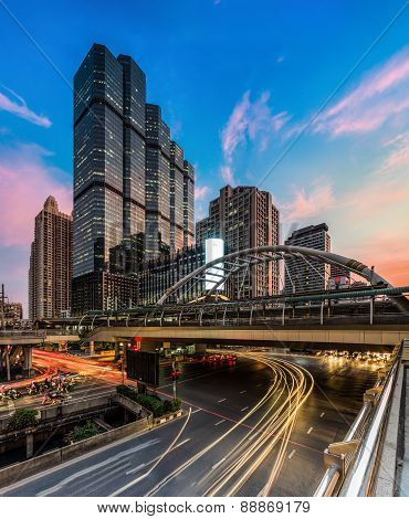 Bangkok City, Buildings And Traffic In Business Area
